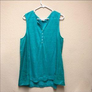 J. Jill]Turquoise Love Linen Split Neck Tank Top-L